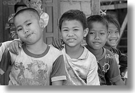 asia, asian, black and white, boys, emotions, horizontal, laos, people, river village, smiles, villages, photograph