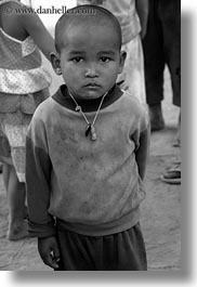asia, asian, black and white, boys, laos, people, poverty, river village, vertical, villages, photograph