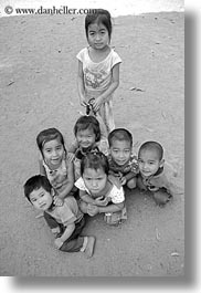 asia, asian, black and white, childrens, downview, laos, people, river village, vertical, villages, photograph