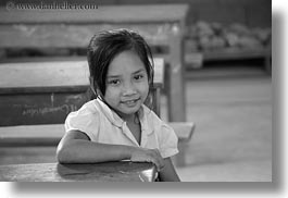 asia, asian, black and white, desks, emotions, girls, horizontal, laos, people, river village, school, smiles, villages, photograph