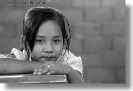 asia, asian, black and white, desks, girls, horizontal, laos, people, river village, school, villages, photograph