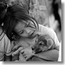 asia, asian, black and white, girls, laos, people, puppies, river village, square format, villages, photograph