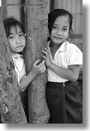 asia, asian, black and white, emotions, girls, laos, people, river village, smiles, trees, vertical, villages, photograph