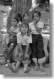 asia, asian, black and white, emotions, girls, groups, laos, people, river village, smiles, vertical, villages, photograph
