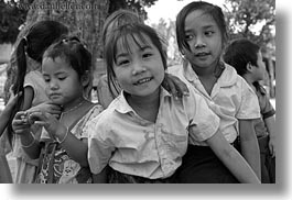 asia, asian, black and white, emotions, girls, groups, horizontal, laos, people, river village, smiles, villages, photograph