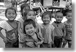 asia, asian, black and white, childrens, emotions, groups, horizontal, laos, laugh, people, river village, smiles, villages, photograph