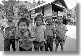 asia, asian, black and white, childrens, emotions, groups, horizontal, laos, people, river village, smiles, villages, photograph