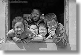 asia, asian, black and white, childrens, emotions, horizontal, laos, laugh, people, playing, river village, smiles, villages, windows, photograph