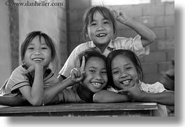 asia, asian, black and white, childrens, desks, emotions, horizontal, laos, people, poverty, river village, school, smiles, villages, photograph