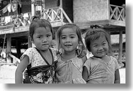 asia, asian, black and white, emotions, girls, horizontal, laos, people, poverty, river village, smiles, toddlers, villages, photograph