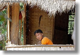 asia, asian, balconies, boys, emotions, horizontal, laos, people, river village, smiles, villages, photograph