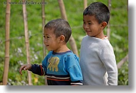 asia, asian, boys, emotions, fields, horizontal, laos, people, river village, smiles, villages, young, photograph