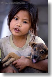 asia, asian, girls, laos, people, puppies, river village, vertical, villages, photograph