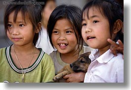 asia, asian, emotions, girls, horizontal, laos, people, puppies, river village, smiles, villages, photograph