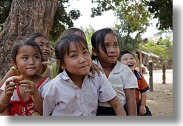 asia, asian, emotions, girls, groups, horizontal, laos, people, river village, smiles, villages, photograph