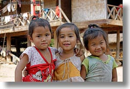 asia, asian, emotions, girls, horizontal, laos, people, poverty, river village, smiles, toddlers, villages, photograph