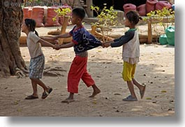 asia, asian, childrens, groups, horizontal, laos, people, pulling, river village, shirts, villages, photograph