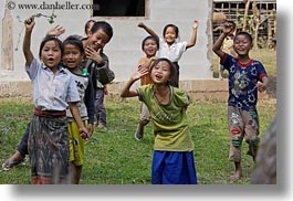 asia, asian, childrens, emotions, groups, horizontal, laos, laugh, people, river village, running, smiles, villages, waving, photograph