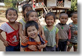 asia, asian, childrens, emotions, groups, horizontal, laos, laugh, people, river village, smiles, villages, photograph