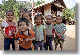 asia, asian, childrens, emotions, groups, horizontal, laos, people, river village, smiles, villages, photograph