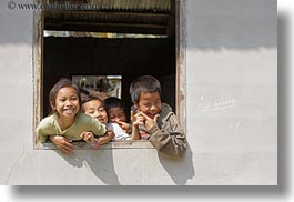 asia, asian, childrens, emotions, groups, horizontal, laos, laugh, people, playing, river village, smiles, villages, windows, photograph