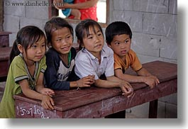 asia, asian, childrens, desks, emotions, groups, horizontal, laos, people, poverty, river village, school, smiles, villages, photograph