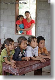 asia, asian, childrens, desks, emotions, groups, laos, people, poverty, river village, school, smiles, vertical, villages, photograph