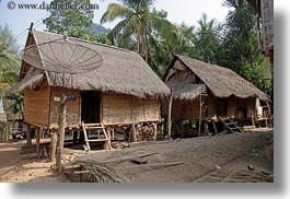asia, horizontal, huts, laos, poverty, river village, roofs, stilts, thatched, villages, photograph