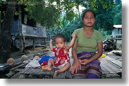 asia, asian, childrens, horizontal, laos, mothers, people, poverty, river village, villages, photograph