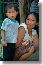 asia, asian, childrens, emotions, laos, mothers, people, poverty, river village, smiles, vertical, villages, photograph