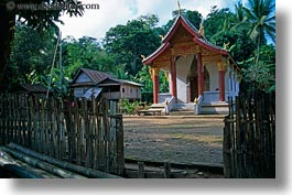 asia, horizontal, laos, river village, temples, villages, photograph