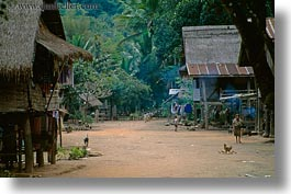 asia, horizontal, huts, laos, poverty, river village, roofs, thatched, villages, photograph