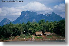 asia, horizontal, huts, laos, mountains, river village, roofs, thatched, villages, photograph