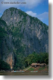 asia, huts, laos, mountains, river village, roofs, thatched, vertical, villages, photograph