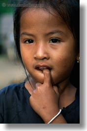 asia, asian, girls, laos, people, river village, vertical, villages, young, photograph