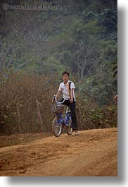 asia, asian, bicycles, laos, men, people, rural, vertical, villages, photograph