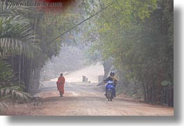 asia, horizontal, laos, monks, motorcycles, rural, villages, photograph