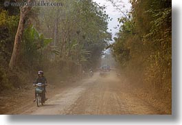 asia, dirt, horizontal, laos, motorcycles, roads, rural, villages, photograph