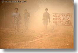 asia, cambodian, dust, horizontal, language, laos, people, rural, signs, villages, walking, photograph