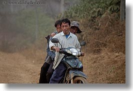 asia, asian, horizontal, laos, men, motorcycles, people, rural, threes, villages, photograph