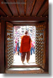 asia, doors, kathmandu, museums, nepal, open, slow exposure, vertical, womens, photograph