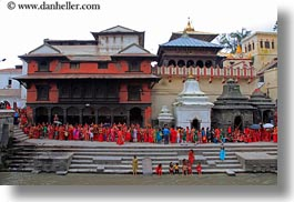 asia, crowds, ghat, horizontal, kathmandu, nepal, pashupatinath, people, sighat, stairs, structures, photograph