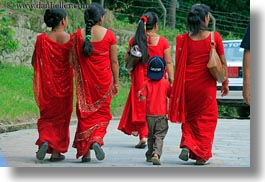 asia, boys, following, girls, horizontal, kathmandu, nepal, pashupatinath, robes, womens, photograph