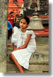 asia, bells, girls, kathmandu, nepal, pashupatinath, vertical, womens, photograph