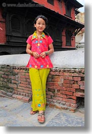 asia, dresses, emotions, flowery, girls, kathmandu, nepal, pashupatinath, pink, smiles, vertical, womens, photograph