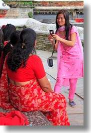 asia, emotions, friends, girls, kathmandu, nepal, pashupatinath, people, photographing, smiles, teenagers, vertical, womens, photograph