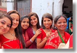 asia, bindi, earrings, emotions, girls, groups, hindu, horizontal, jewelry, kathmandu, nepal, pashupatinath, people, religious, sindoor, smiles, stud, teenagers, tikka, womens, photograph