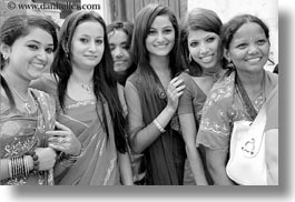 asia, bindi, black and white, earrings, emotions, girls, groups, horizontal, jewelry, kathmandu, nepal, pashupatinath, people, smiles, stud, teenagers, womens, photograph