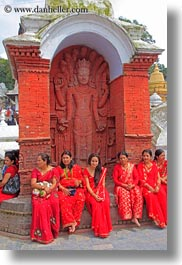 asia, aspara, bas reliefs, bindi, girls, groups, jewelry, kathmandu, nepal, pashupatinath, people, teenagers, under, vertical, womens, photograph