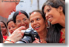 asia, bindi, cameras, emotions, girls, hindu, horizontal, jewelry, kate, kathmandu, nepal, pashupatinath, people, religious, showing, sindoor, smiles, stud, teenagers, tikka, womens, photograph